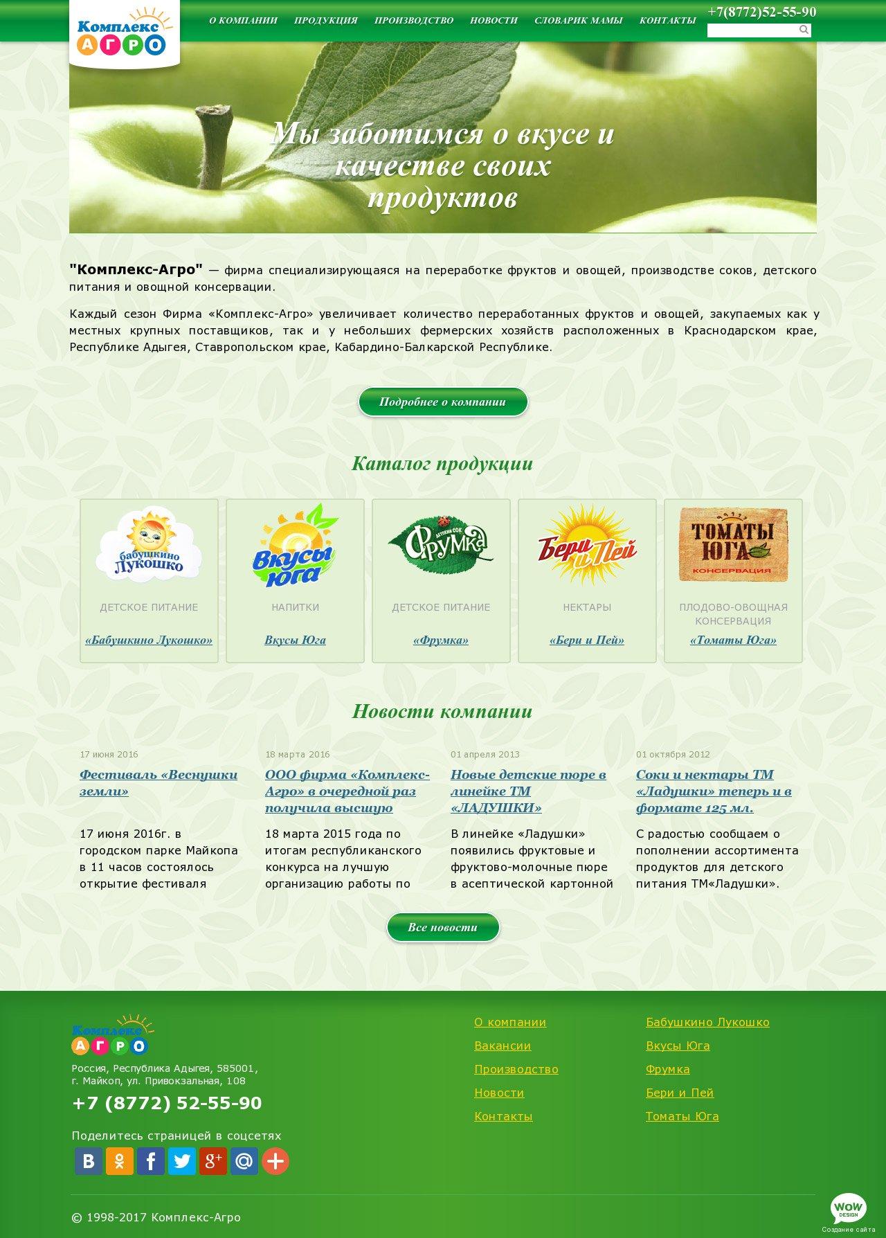 Продвижение сайта компании по производству соков создание интернет раскрутка сайта под google